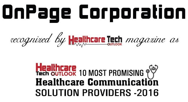 Healthcare Technology - OnPage Named 10 Most Promising Healthcare Communication Solution Providers 2016