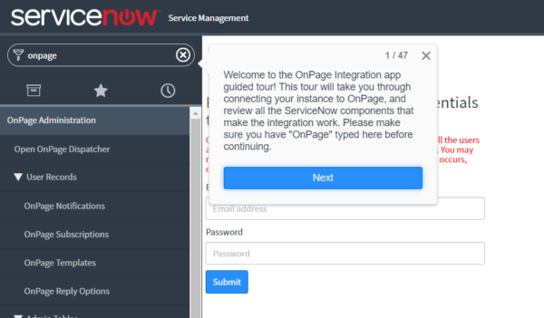 OnPage integration app guided tour in ServiceNow