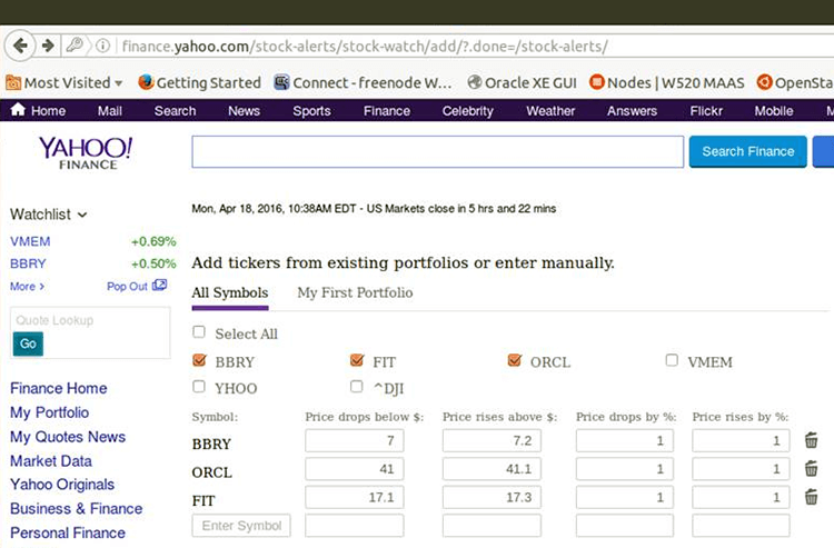 OnPage Yahoo Stock Price Alerts