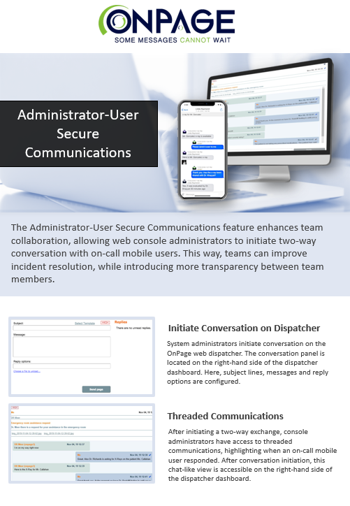 administrator-user secure communications
