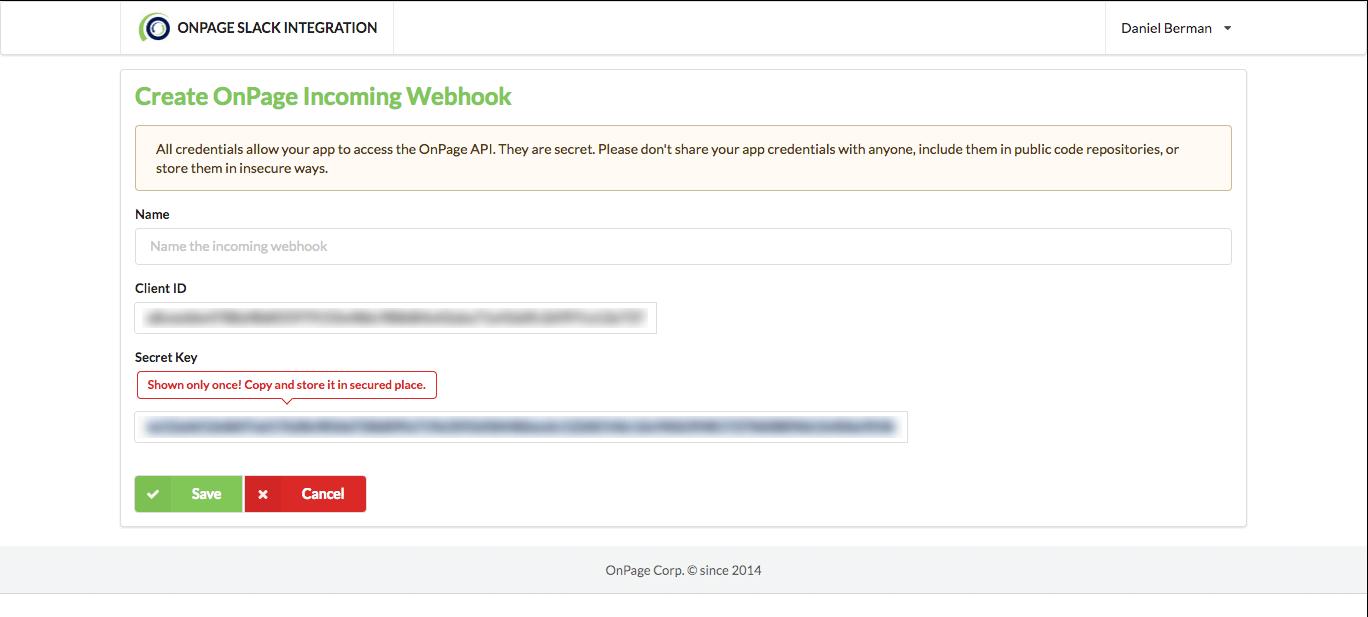 OnPage dedicated webhook application