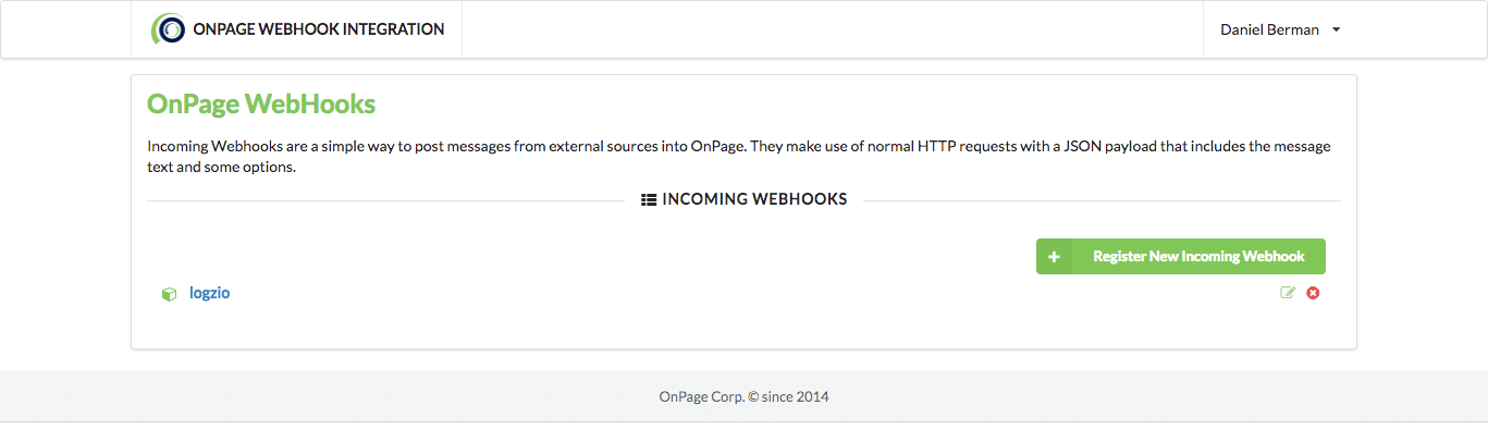 OnPage webhook integration