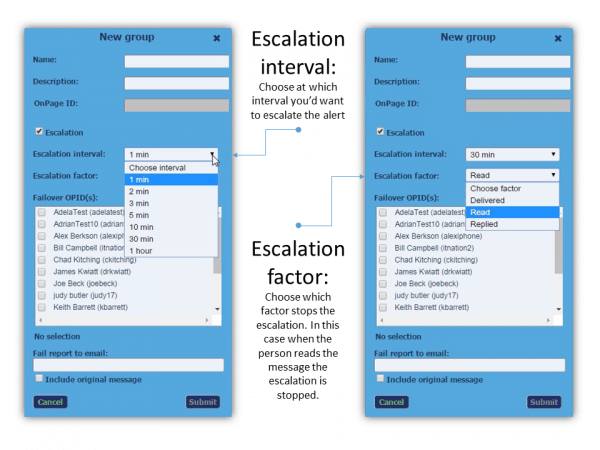 OnPage Escalation Interval and Escalation Factor